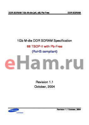 K4H1G0838M-UCA2 datasheet - 1Gb M-die DDR SDRAM Specification 66 TSOP-II with Pb-Free (RoHS compliant)