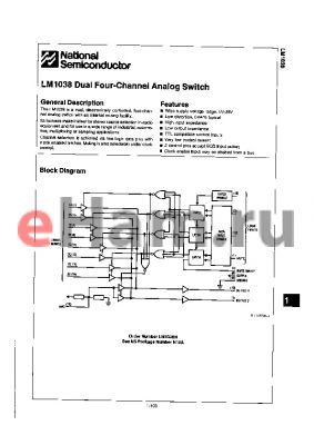 LM1038 datasheet - Dual Four-Channel Analog Switch