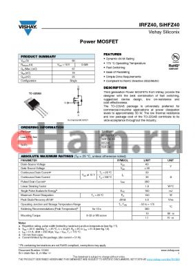 IRFZ40 datasheet - Power MOSFET
