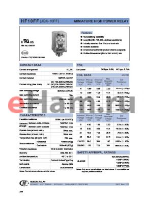 HF10FF/100A-3ZDTGXXX datasheet - MINIATURE HIGH POWER RELAY