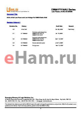 EM641FT16FU-45S datasheet - 512K x16 bit Low Power and Low Voltage Full CMOS Static RAM