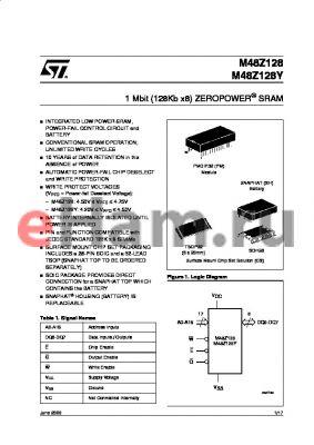 M48Z128PM datasheet - 1 Mbit 128Kb x8 ZEROPOWER SRAM
