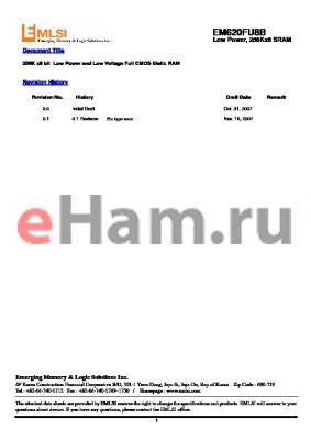 EM641FV16FT-70S datasheet - 256K x8 bit Low Power and Low Voltage Full CMOS Static RAM