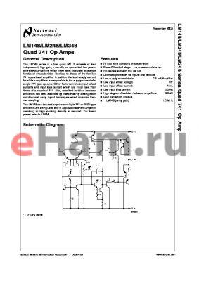 LM148J datasheet - Quad 741 Op Amps LM149 Wide Band Decompensated (AV MIN = 5)