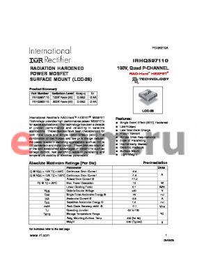 IRHQ593110 datasheet - RADIATION HARDENED POWER MOSFET SURFACE MOUNT (LCC-28) 100V, Quad P-CHANNEL