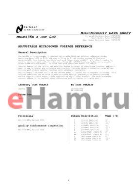 LM185BH datasheet - MICROCIRCUIT DATA SHEET