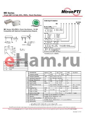 ME62XBD-R datasheet - 14 pin DIP, 5.0 Volt, ECL, PECL, Clock Oscillator