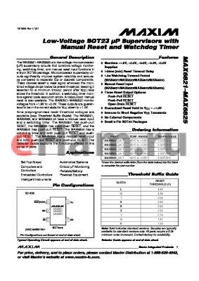 MAX6822YUK-T datasheet - Low-Voltage SOT23 lP Supervisors with Manual Reset and Watchdog Timer