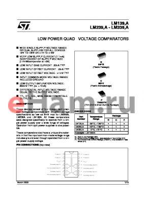 LM239APT datasheet - LOWPOWER QUAD VOLTAGE COMPARATORS