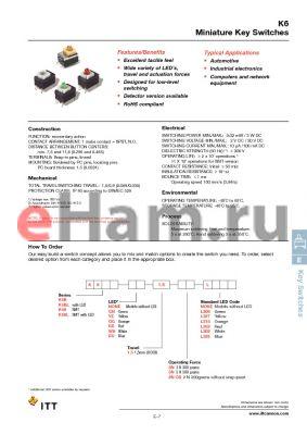 K6BYE1.52NODL302 datasheet - Miniature Key Switches