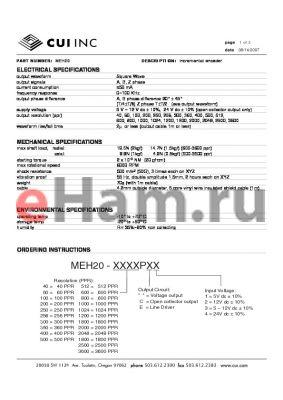 MEH20-1200P3 datasheet - incremental encoder