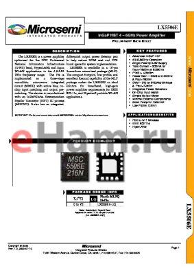 LX5506E-LQ datasheet - InGaP HBT 4 - 6GHz Power Amplifier