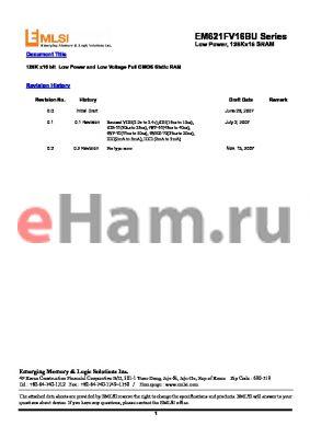 EM682FT8ES-45S datasheet - 128K x16 bit Low Power and Low Voltage Full CMOS Static RAM