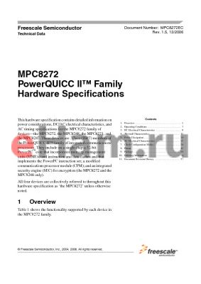 MPC8272CVRP datasheet - PowerQUICC II Family Hardware Specifications