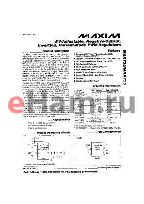 MAX755CSA datasheet - -5V/Adjustable, Negative-Output,Inverting, Current-mode PWM Regulators