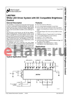 LM27964SQ-I datasheet - White LED Driver System with I2C Compatible Brightness Control