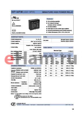 HF14FW/006-DTFXXX datasheet - MINIATURE HIGH POWER RELAY