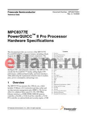 MPC8377VRAJGA datasheet - PowerQUICC II Pro Processor Hardware Specifications