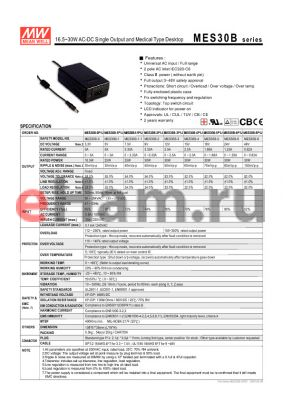 MES30B datasheet - 16.5~30WAC-DC Single Output and Medical Type Desktop