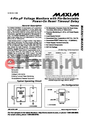 MAX821UUS-T datasheet - 4-Pin lP Voltage Monitors with Pin-Selectable Power-On Reset Timeout Delay