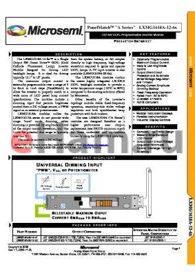 LXMG1618A-12-6X datasheet - 12V 6W CCFL Programmable Inverter Module