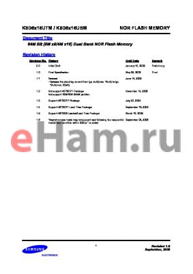 K8D638UTM-FI07 datasheet - 64M Bit (8M x8/4M x16) Dual Bank NOR Flash Memory