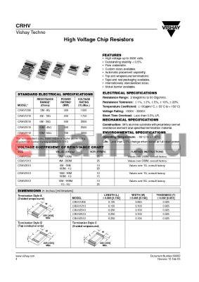 HV2512CA1008M200S2 datasheet - High Voltage Chip Resistors