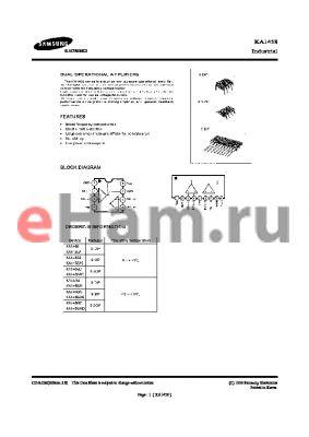 KA1458ID datasheet - DUAL OPERATIONAL AMPLIFIERS