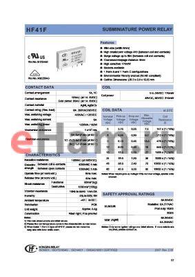 HF41F/009-HTGXXX datasheet - SUBMINIATURE POWER RELAY