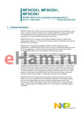 MF3ICD21 datasheet - MIFARE DESFire EV1 contactless multi-application IC