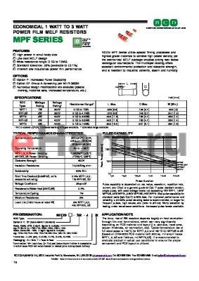 MPF2SP-1R0-K datasheet - ECONOMICAL 1 WATT TO 3 WATT POWER FILM MELF RESISTORS