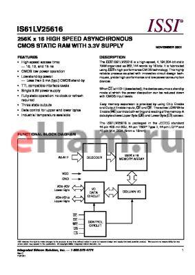 IS61LV25616-10LQ datasheet - 256K x 16 HIGH SPEED ASYNCHRONOUS CMOS STATIC RAM WITH 3.3V SUPPLY