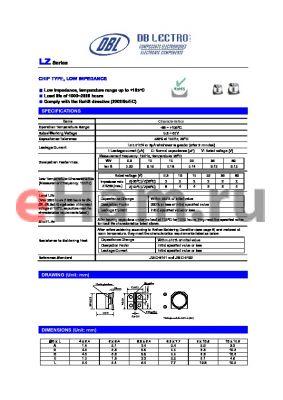 LZ1J471KC datasheet - CHIP TYPE, LOW IMPEDANCE