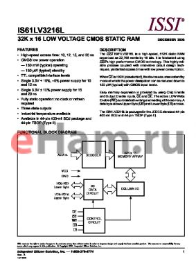 IS61LV3216L-15KI datasheet - 32K x 16 LOW VOLTAGE CMOS STATIC RAM