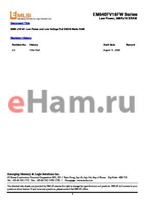 EM7645FR8EU-45LL datasheet - 256K x16 bit Low Power and Low Voltage Full CMOS Static RAM