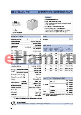 HF7FD/018-1ZSTXXX datasheet - SUBMINIATURE HIGH POWER RELAY