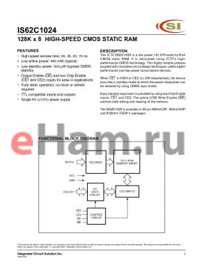 IS62C1024-45Q datasheet - 128K x 8 HIGH-SPEED CMOS STATIC RAM