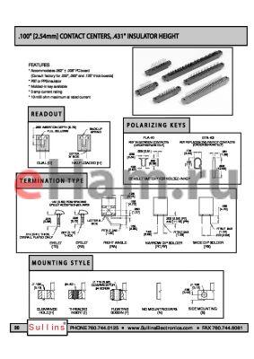 EMC30DRXF datasheet - .100 [2.54mm] CONTACT CENTERS, 431 INSULATOR HEIGHT