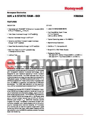 HX6356-SRT datasheet - 32K x 8 STATIC RAM-SOI