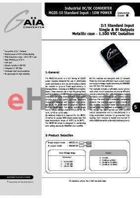 MGDBI-10-F-E datasheet - 2:1 Standard Input Single & Bi Outputs Metallic case - 1.500 VDC Isolation