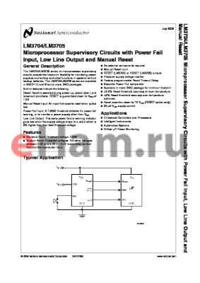 LM3705YABP-308 datasheet - Microprocessor Supervisory Circuits with Power Fail Input, Low Line Output and Manual Reset