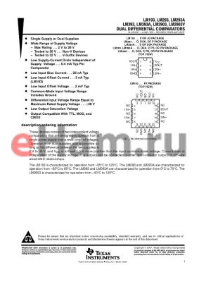 LM393ADR datasheet - DUAL DIFFERENTIAL COMPARATORS