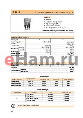 HF9318-027-3-1-0-1-1 datasheet - 1/2 CRYSTAL CAN HERMETICALLY SEALED RF RELAY