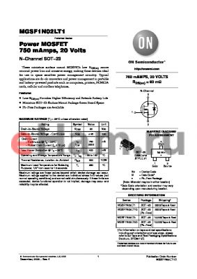 MGSF1N02LT1G datasheet - Power MOSFET 750 mAmps, 20 Volts N-Channel SOT-23