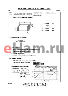 MH2012R10JL datasheet - MULTILAYER CHIP INDUCTOR