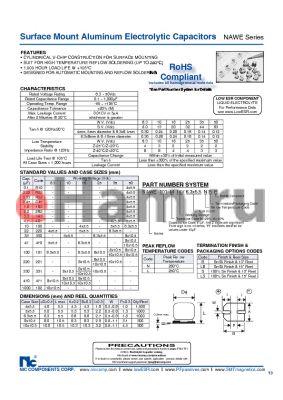 NAWE221M25V8X10.5LBF datasheet - Surface Mount Aluminum Electrolytic Capacitors
