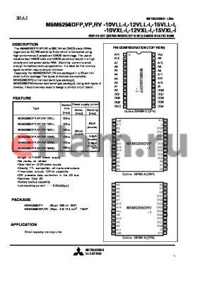M5M5256DFP-15VXL-I datasheet - 262144-BIT (32768-WORD BY 8-BIT) CMOS STATIC RAM