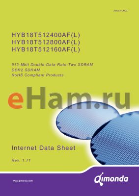 HYB18T512800AF-3.7 datasheet - 512-Mbit Double-Data-Rate-Two SDRAM