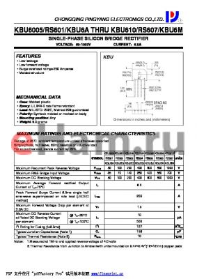 KBU610-RS607-KBU6M datasheet - SINGLE-PHASE SILICON BRIDGE RECTIFIER