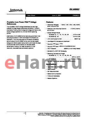 ISL60002DIH330Z-TK datasheet - Precision Low Power FGA Voltage References